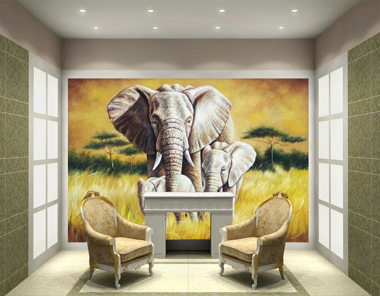 3d animal mural oil painting wall paper painting non woven for 3d wall mural painting