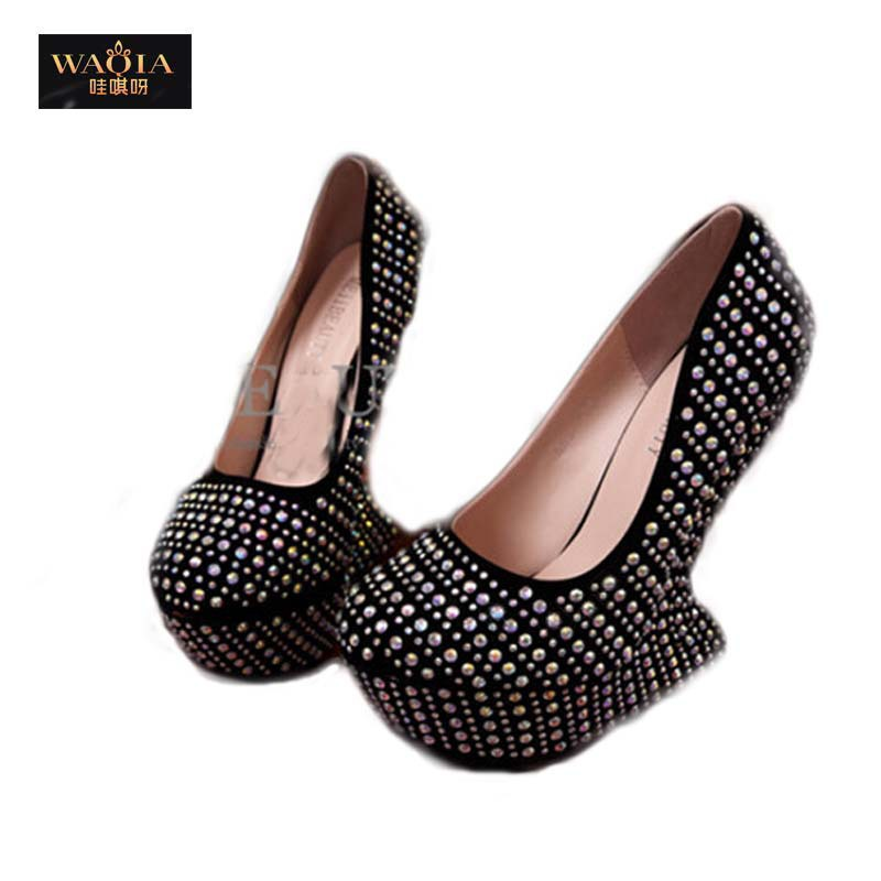 New Arrival Hot Fashion Sexy High Spool Heels Platform PU Metal Round Toe Hot drilling diamond costly waterproof women shoes(China (Mainland))