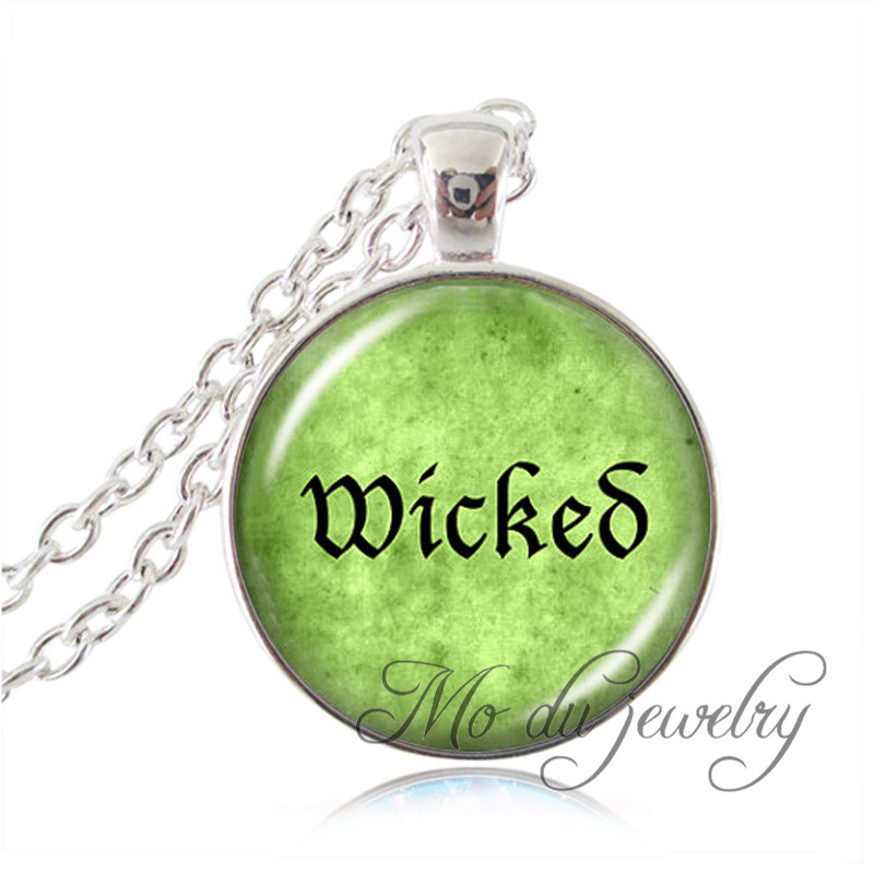 Silver Chain Wicked Necklace Letter Wicked Pendant Glass Dome Art Picture Wicked Green Jewelry Bijoux Femme Women Accessories(China (Mainland))