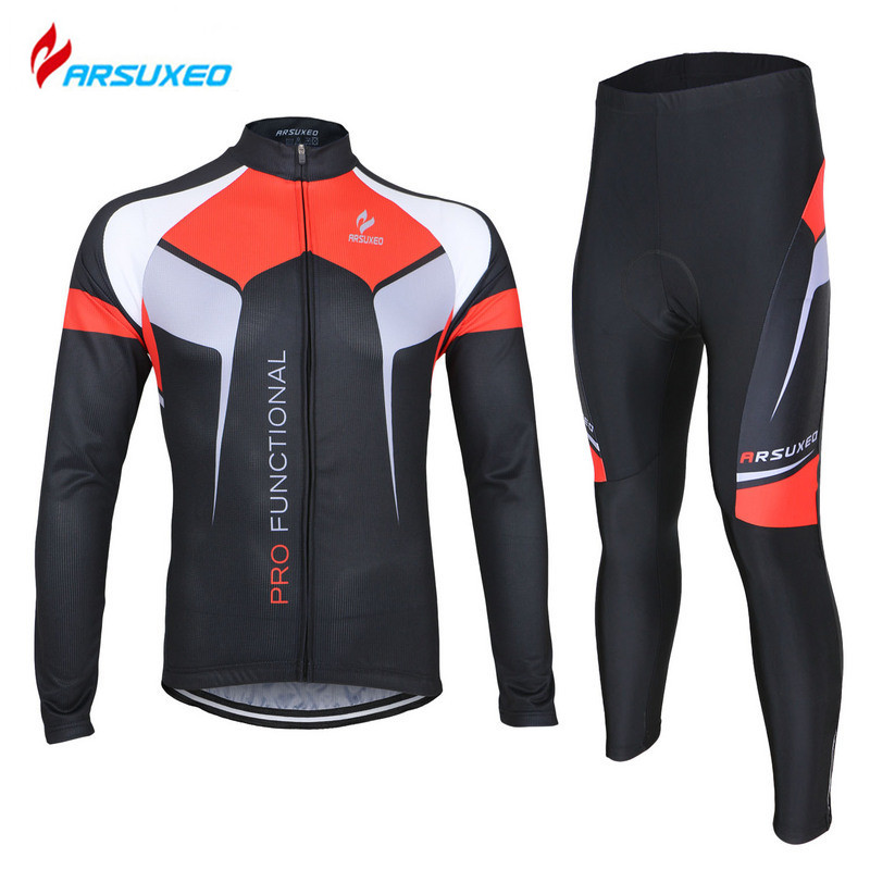 ARSUXEO Men's Outdoor Sports Breathable Quick Dry Bike Bicycle Cycling Long Sleeves Jersey + Tights Pants Sets 3D Gel Paded