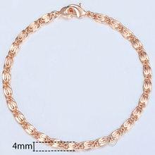 20cm bransoletki dla kobiet mężczyzn 585 różowe złoto Curb ślimak Foxtail Venitian Link łańcuchy męskie bransoletki biżuteria prezenty KCBB1(Hong Kong,China)