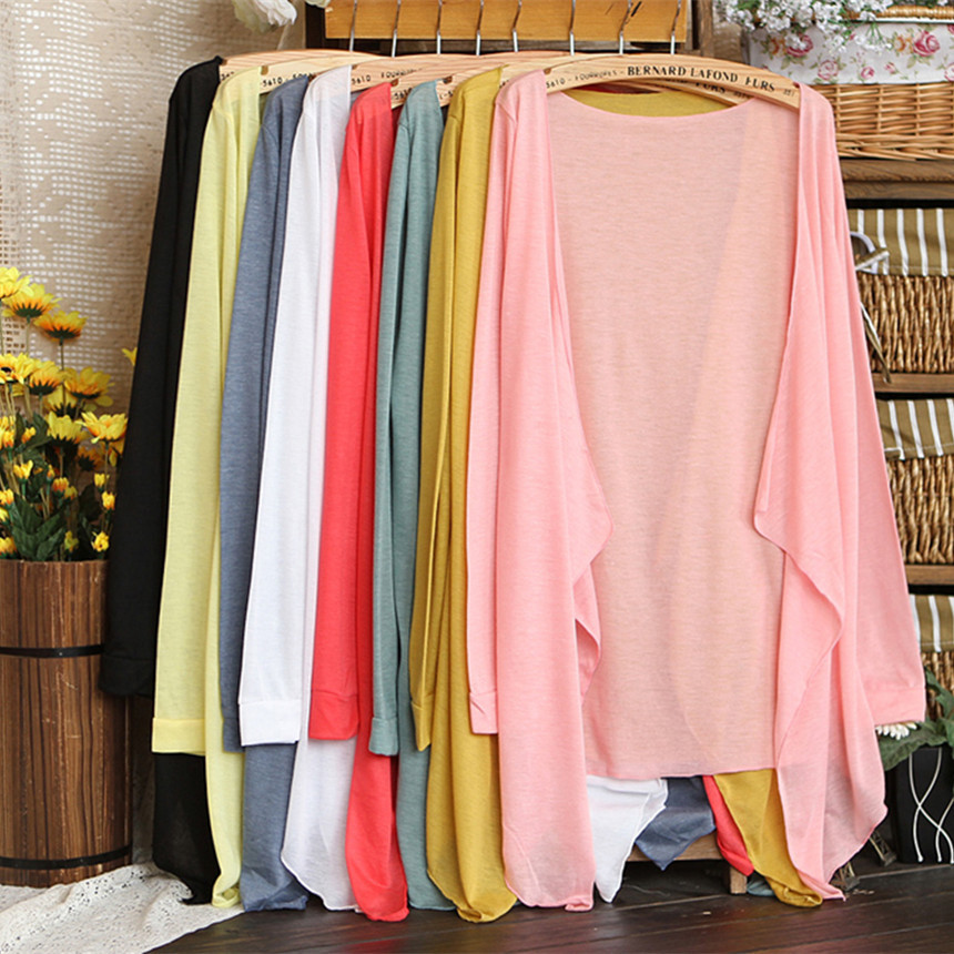 New spring and summer 2015 polyester / cotton shawls blouses air conditioning sunscreen thin open shirts girl DX257(China (Mainland))