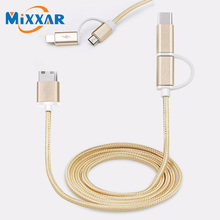 ZK90 2 in 1 Aluminum Micro USB Cable 1M Charging Mobile Phone Cables For iPhone 6 5S 5 Charger ios Data For Samsung Android