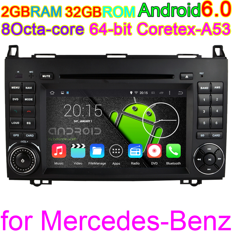 Android 6.0 Octa Core 2GB RAM Vehicle DVD For Mercedes Benz Sprinter A, B-class Viano/Vito W169 W24 Car GPS Internet Audio PC(China (Mainland))