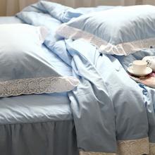 The European version of the new * * blue cotton cotton four set sanding thick quilt bedding