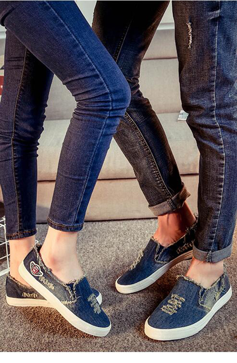 2017 washing women's denim shoes summer ventilation hole lazy flat sapatos women canvas shoe outdoor loafers size 40 blue