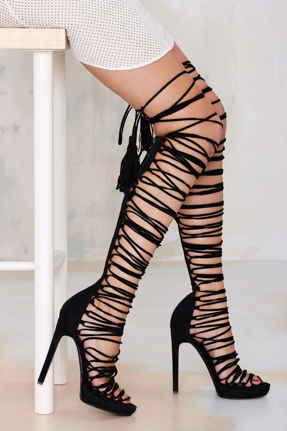 Gladiator Lace Up Heels - Is Heel