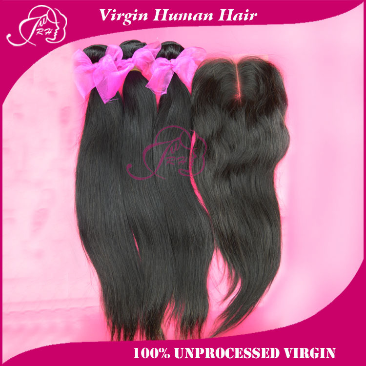 Peruvian virgin hair straight lot middle part lace closure bundles ms lula weaves extensions Human products - Xin factory store
