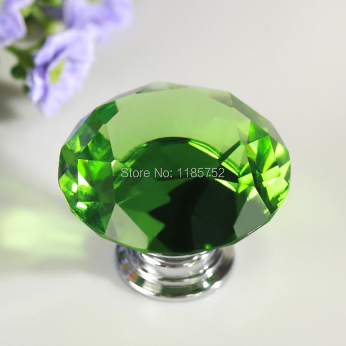 8PCS 40mm Diamond Shaped Green Glass Crystal Cabinet Pull Drawer Handle Kitchen Door Knob Wardrobe Handle Hardware for Furniture(China (Mainland))