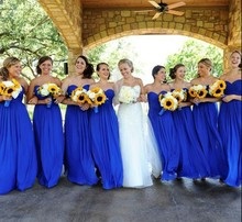 Long Chiffon Open Backless Sweetheart Women Party Gowns For Weddings Royal Blue font b Bridesmaid b
