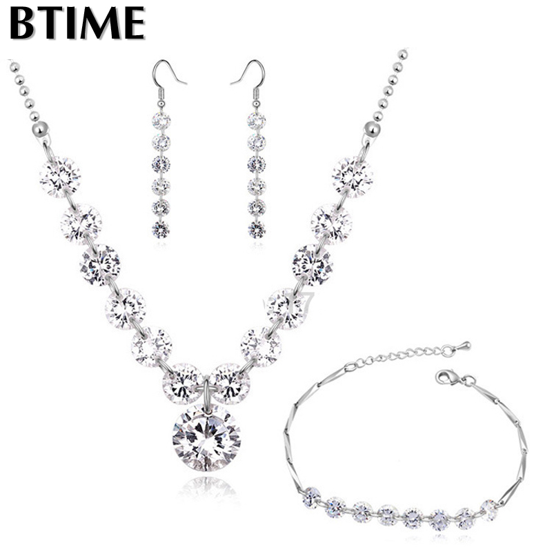 Btime Fashion 18K Gold plated Austrian 10mm Zircon Accessories Necklace Earrings Bracelet Jewelry Set Crystals from swarovski(China (Mainland))