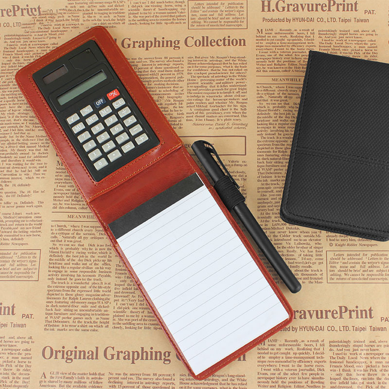 2015 new design creative stationery  PU leather notepad notebook diary memo planner with mini notepad and calculator <br><br>Aliexpress