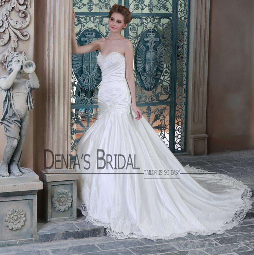Mermaid Wedding Dresses Pleated : Aliexpress buy satin bridal dresses mermaid