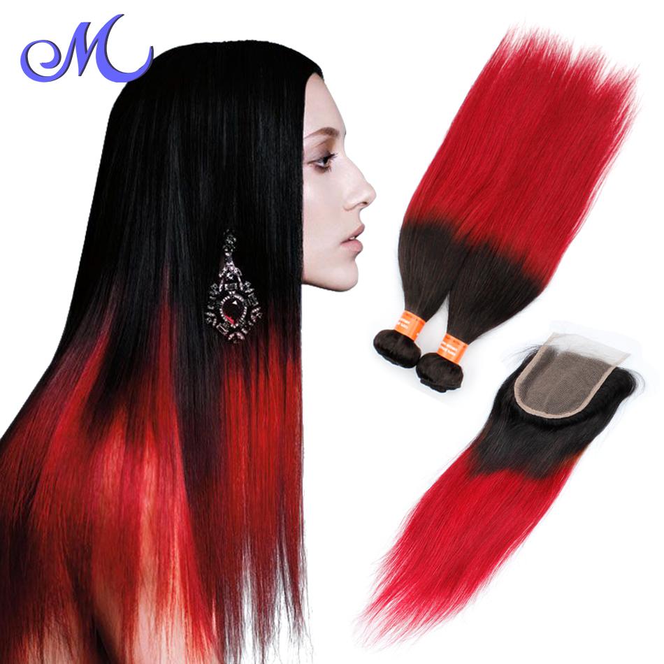 Cheap Brazilian Hair 4 Bundles With Closure Brazilian Virgin Hair Straight With Closure Ombre 1b And Red Bundles With Closure<br><br>Aliexpress