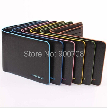 Free shipping 100pcs/lot fashion pu leather men wallet short paragraph solid color border unisex wallet<br><br>Aliexpress