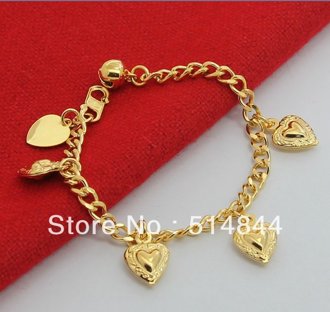 GPB040 Free Shipping 24K Yellow Gold Plated Top Quality 12.5cm Heart Baby Bracelet  / Charmhouse 2013 Promote Item<br><br>Aliexpress