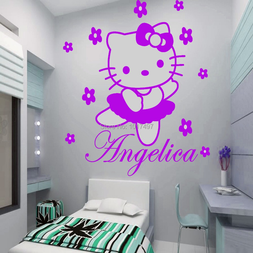 HELLO KITTY fairy Personalised name Wall Sticker Art Decal Vinyl Kids girl room Decorative Free Shipping ,c2065(China (Mainland))