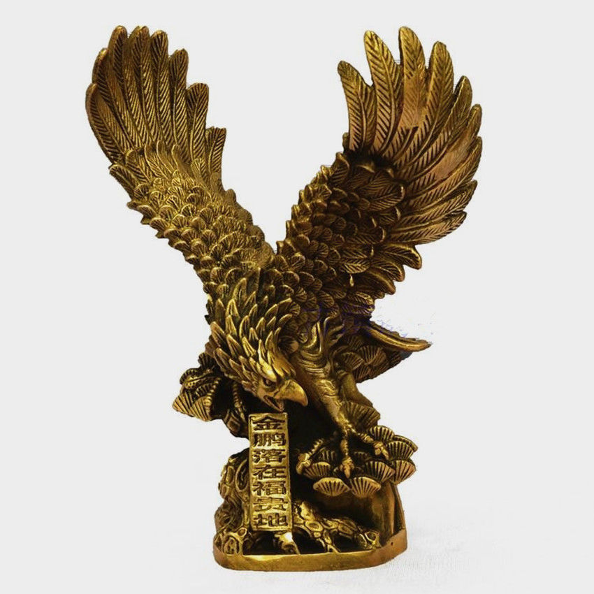"""8""""Chinese Brass Copper spread the wings Hawk Eagle Bird Figures Statue(China (Mainland))"""