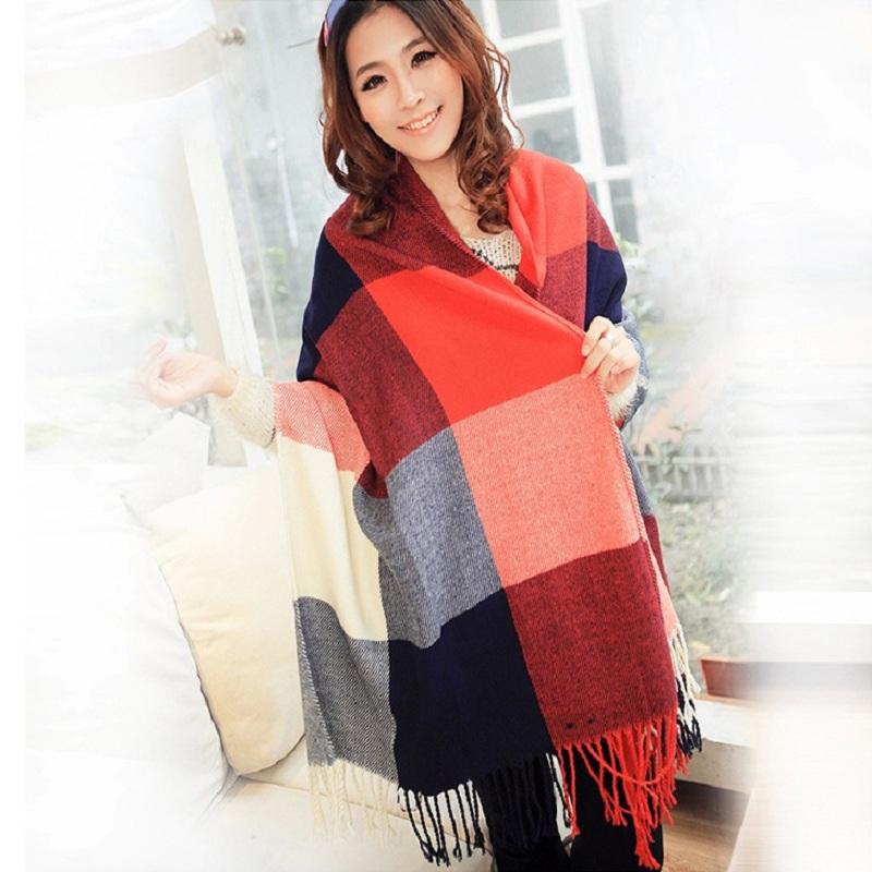 Free Shipping Fashion Women Wool Blend Tassels Plaid Checks Lattices Winter Scarf Shawl Wrap Purple Plaid Red PlaidОдежда и ак�е��уары<br><br><br>Aliexpress