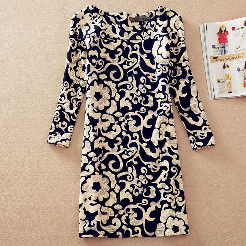 Платье с круглым вырезом винтажный длинный рукав, 20 цветов 4XL цветочный vestidos женщин печать платья NCX0336