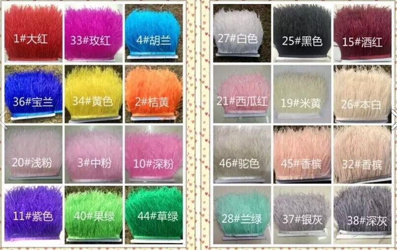 Free Shipping 10meters/Color Ostrich Feather Ribbons Trimming 13-15cm Ostrich Feather Fringe 24 colors Available(China (Mainland))