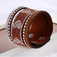 New Arrived Women And Men Fashion Leather Wrap Wristband Cuff Punk Rhinestone And Crystal Bracelet Love Heart Bangle(China (Mainland))