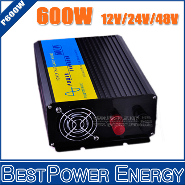 HOT SALE!! 600W Pure Sine Wave Power Inverter DC12V/24V/48V Input, AC110V/220V Output Off Grid Solar Wind Inverter Converter(China (Mainland))