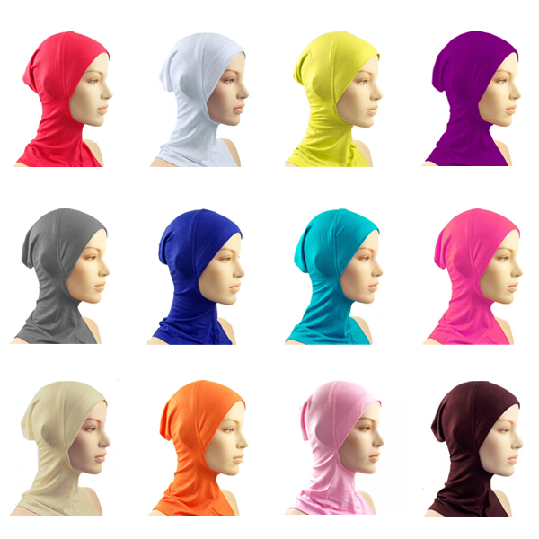 13 Color Hijab Islamic Band Neck Cover Head Wear Under Scarf Hat Cap Bone Bonnet Wholesale(China (Mainland))