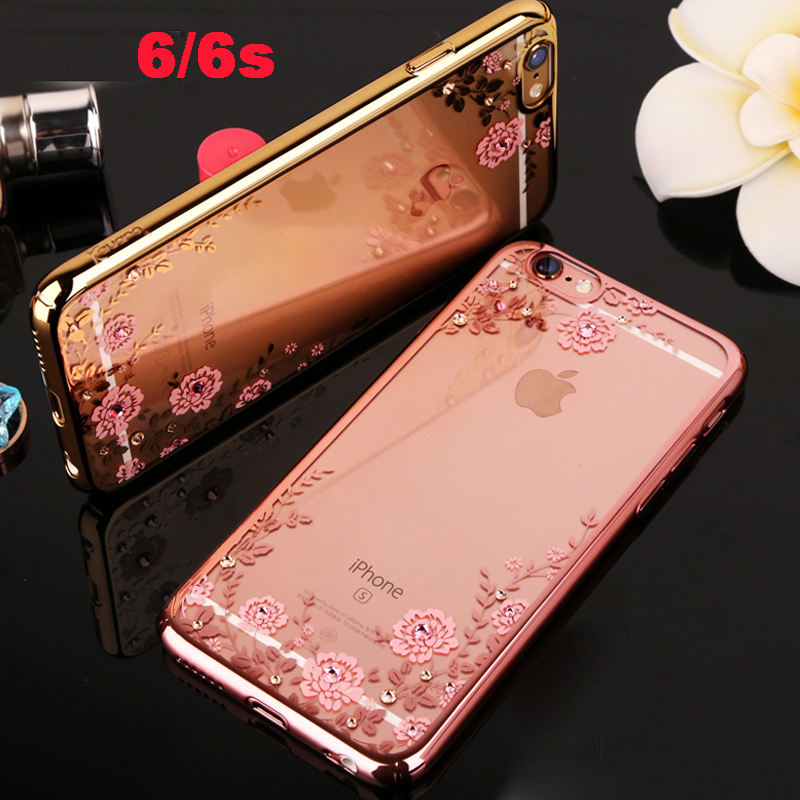 i rose pink soft luxury phone cover case for apple iphone 6 s 6s coque Clear transparent girl diamond battery covers tpu cases(China (Mainland))