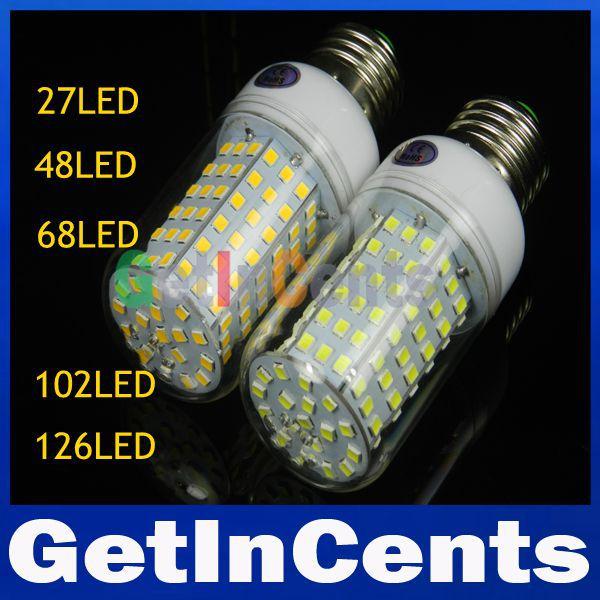 Ultra bright SMD 2835 E27 3W 9W 15W 18W 20W 25W LED Corn Lamp Light 220V/110V LED Ball Bulb Warm white/white Spotlight(China (Mainland))