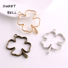 Buy Sweet Bell (12pcs/lot) 34*44mm Three color Alloy Hollow Clover Charm Pendant Jewelry Making Pendant DIY Handmade Craft D6084-1 for $4.20 in AliExpress store