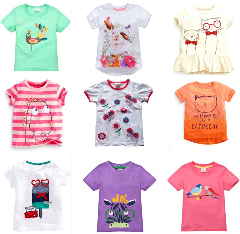 Brand 2015 New Girls Summer T-shirt Short Sleeve European Little Girl Cartoon Tees Baby Tshirt Children Shirts Cotton blousetop(China (Mainland))