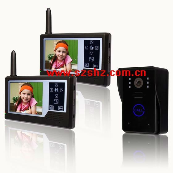 2012 classical design /  wireless colour video door phone / taking picture / high brand black panel / outdoor unit in Li-baterry