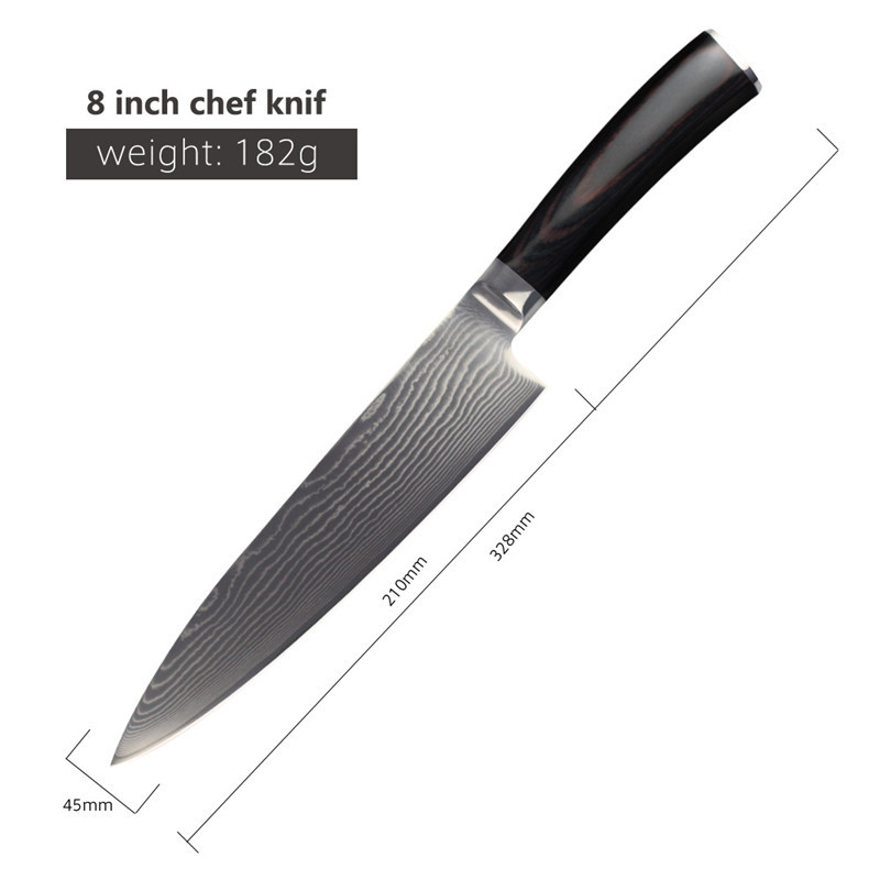 2016 8 inch kitchen knife high quality damascus knives steel chef knife ebay. Black Bedroom Furniture Sets. Home Design Ideas