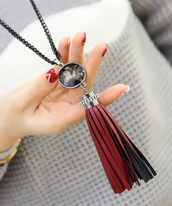 New trendy leather tassel long necklaces & pendants gift fashion jewelry wholesale(China (Mainland))