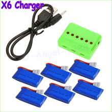 Wholesale X6 Charger with 6Pcs 3.7V 240mAh 350mAh 380mAh 500mAh 600mah 650mah Lipo Battery for Hubsan X4 H107 H107L H107C H107D