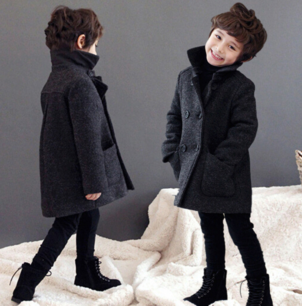 2015 Kids Boys Woolen Coat Double Breasted Winter Warm Thicken Childrens Outerwear Size 3-10 Year<br><br>Aliexpress