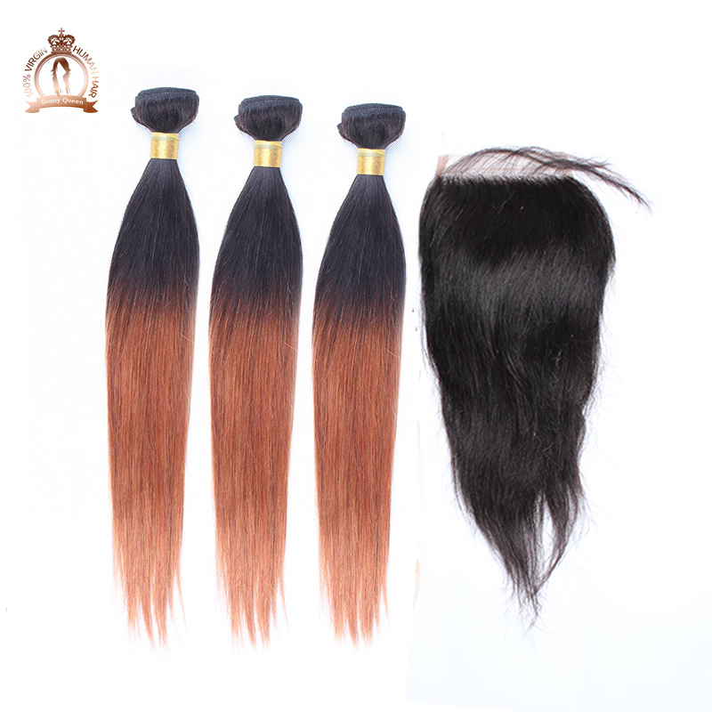 Sunny queen hair products Brazilian virgin ombre hair silky straight 4 pcs lot, 1 pc 3 part way lace closure with 3 pcs hair <br><br>Aliexpress