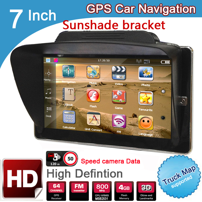 New 7 inch HD Car GPS Navigation 8GB/DDR3 2016 Maps For Europe/USA+Canada with Sunshade Sunshield bracket Truck Camper Caravan(China (Mainland))