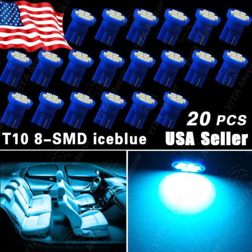 20pcs/lot Aqua Ice Blue Car led t10 Wedge 8-SMD W5W 168 194 2825 175 LED Interior Light bulbs Map Dome Courtesy Trunk light -C(China (Mainland))