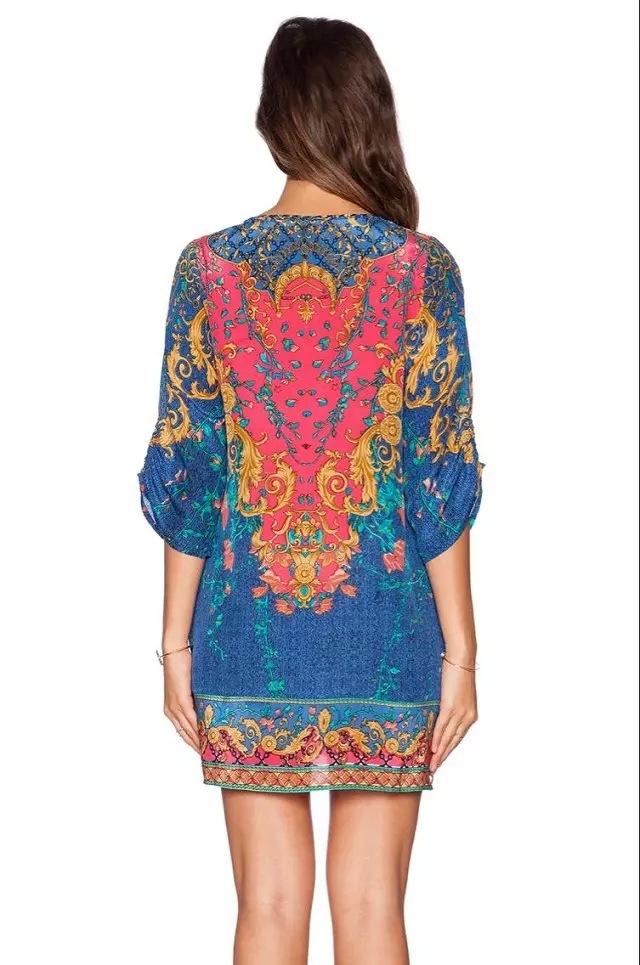 Primavera Boho Dress Chiffon das senhoras 2015 estilo verão mulheres azul curto vestido de verão Dames Jurken Vestidos Verano Mujer mulher roupas