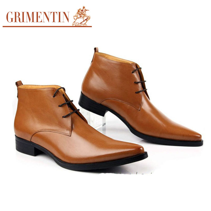 GRIMENTIN Men's Shoes classic formal style oxfords boot men dress boots genuine leather mens pointed toe ankle boots size:38-45(China (Mainland))