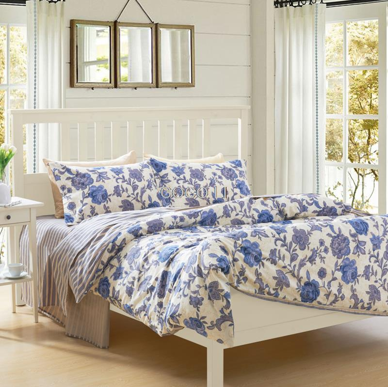 Fashion Classic European-style Blue Small floral Brand Bedding 4pcs 100%cotton Satin Bedding set / Duvet cover set CP AAA(China (Mainland))