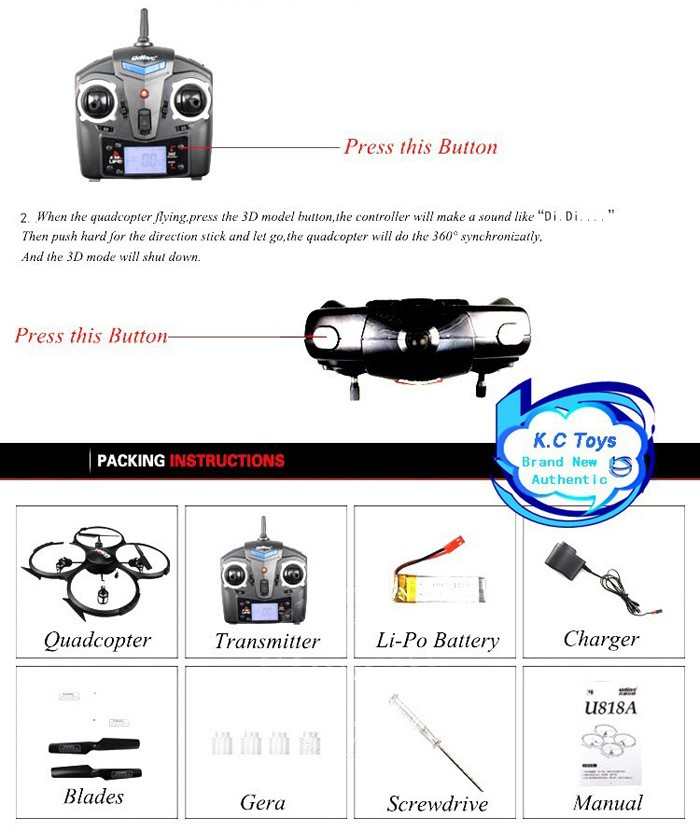 7 New Arrival Original UDI U818A HD UFO With 3D Flip 2.4G 4ch 6 Axis Drone RC Quadcopter with Camera RC Helicopter Toys