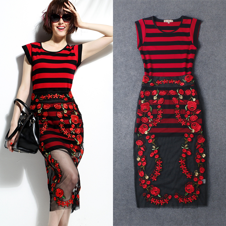 Free Shiping 2015 New Arrival Top Fashion Mid-calf Length Short Sleeve Striped Red Carnation Embroidered Designer Runway SuitsОдежда и ак�е��уары<br><br><br>Aliexpress
