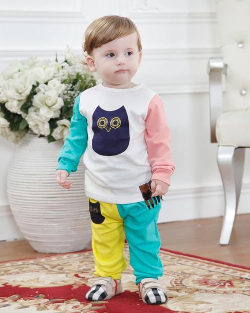2016 весной мода детская одежда комплект включает пальто и брюки симпатичные сова ...