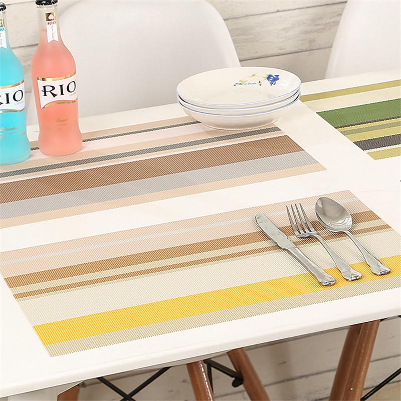 3PCS/Lot PVC Table Placemat 45x 30cm 4Color Strip Dining Table Placemats Heat Resistant Table Decoration Table Mats(China (Mainland))