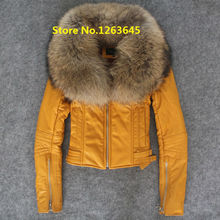 Yellow Red Leather Jacket With Fur Collar Natural Lamb Sheepskin Winter Coat Genuine Leather Jacket Women DHL Free Shipping USA(China (Mainland))