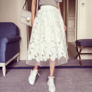 2016 new spring. Water soluble lace yarn elastic waist skirt fight girls skirt