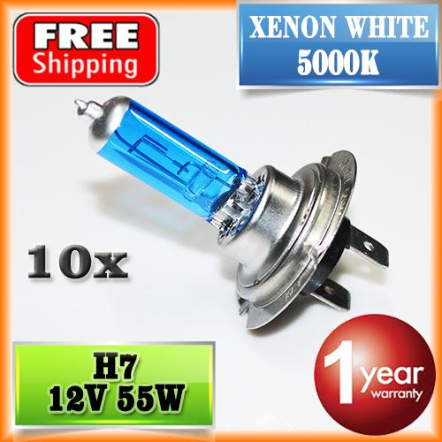 10 PCS H7 Halogen Bulb 12V 55W 5000K Super White Quartz Glass Xenon Dark Blue Car HeadLight Lamp FREE SHIPPING(China (Mainland))